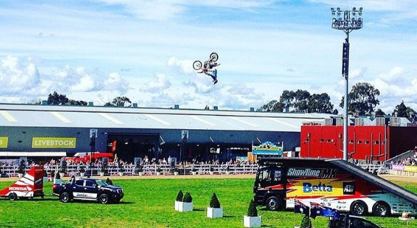 Brad performs an aerial flip to a capacity crowd at the Melbourne Show. Photo by Shelby Garlick